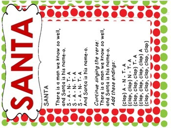 Santa Holiday Song Cards for Preschool