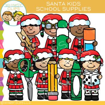 Santa Kids School Supplies Christmas Clip Art