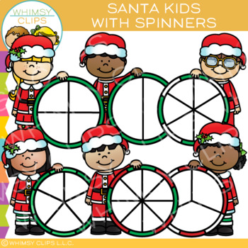 Santa Kids with Spinners for Christmas Clip Art