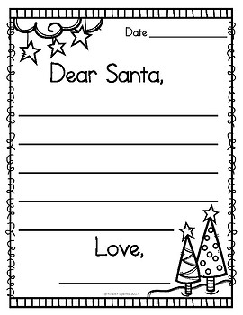 Dear santa letter by kinder sparks teachers pay teachers for Dear santa template kindergarten letter