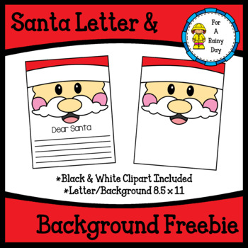 Santa Letter & Background Clipart Freebie
