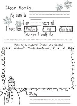 Santa Letter Template Pre K Kindergarten By Ashley Burdick Tpt