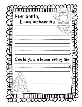 Santa Letter for Kindergarten FREEBIE