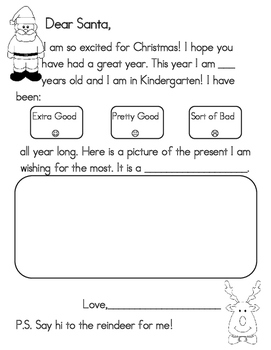 Santa Letter Preschool Kindergarten First Grade By Heidi