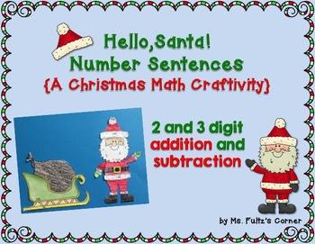 Santa Math Craftivity: Addition and Subtraction Number Sentences
