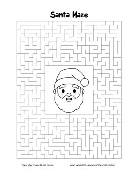 """Santa"" Maze! Holiday FUN! (Color and Black Line)"