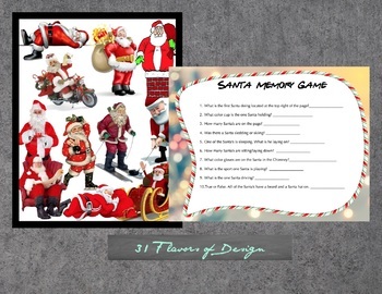 Santa Memory Game - Holiday Printable Game