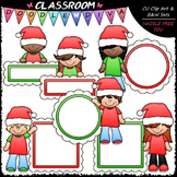 Santa Message Board Kids - Clip Art & B&W Set