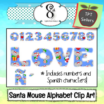 Santa Mouse Alphabet and Number Clip Art