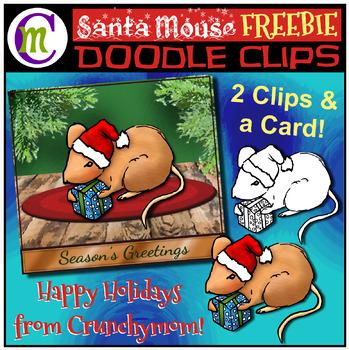 Santa Mouse Clip Art & Greeting Card FREEBIE