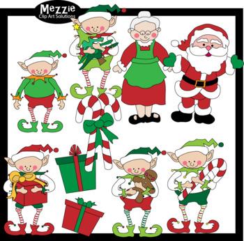 Santa, Mrs. Claus, and Elf Christmas Clip Art
