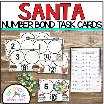 Santa Number Bond Task Cards 1-10 Center