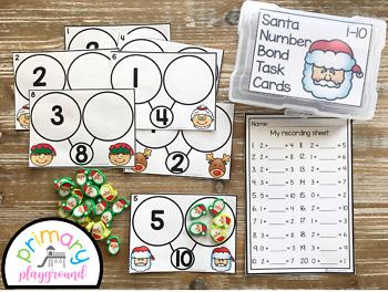 Santa Number Bond Task Cards 1-10 Center