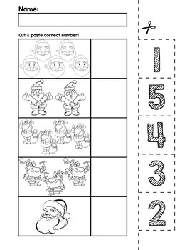 Santa Number Cut & Match Worksheets | Numbers 1-5 by preKautism | TpT
