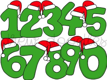 Santa Numbers Digital Clip Art Set- Color and Black Line Versions