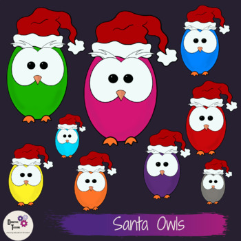 Santa Owls Clip Art Set- Perfect for Christmas Activities