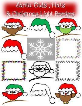 Santa Owls & Hat Clip Art with Bonus Christmas Light Borders