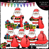Santa Packs Christmas Presents - Clip Art & B&W Set