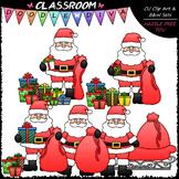 Santa Packs Christmas Presents - Clip Art & B&W Set
