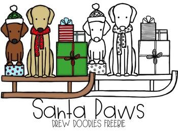 Santa Paws Digital Clip Art FREEBIE