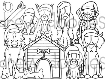 Santa Paws Digital Clip Art Set- Black Line Version