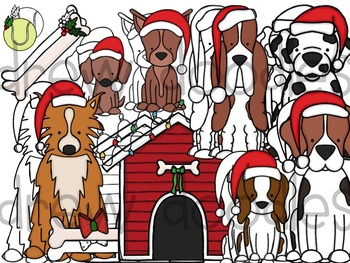 Santa Paws Digital Clip Art Set- Color and Black Line COMBO