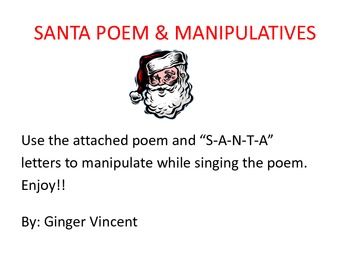 Santa Poem and S-A-N-T-A Manipulatives