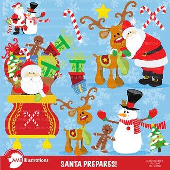 Christmas clipart, Santa Prepares for Christmas Cliparts AMB-560