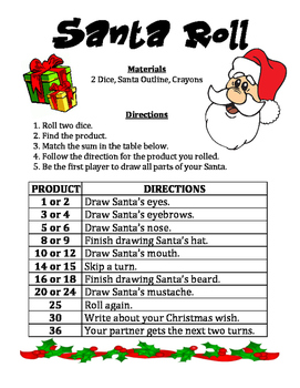 Santa Product Roll - A Christmas Math Activity to Multiply Numbers