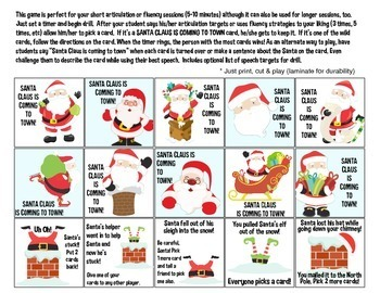 Quick Drill Santas {for speech therapy or any skill drill}