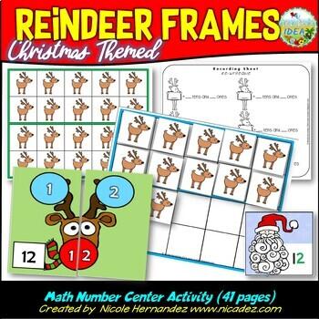 Santa's Reindeer Frames Math Center Activities Numbers 1 to 20