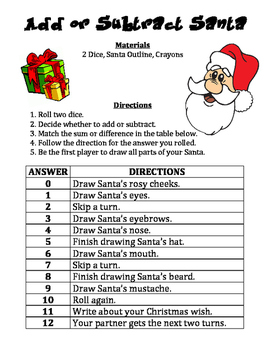Add or Subtract Santa: A Strategic Christmas Math Activity to Add or Subtract