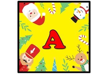 Santa, Rudolf, Snowman, Christmas, Winter, Banner, Bulletin Board Letters A-Z
