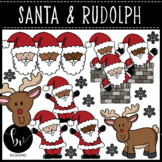 Santa & Rudolph Clipart Set • Full Color and B&W Clip Art
