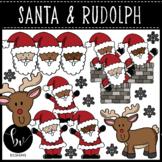 Santa & Rudolph Clipart Set • Full Color and B&W Clip Art