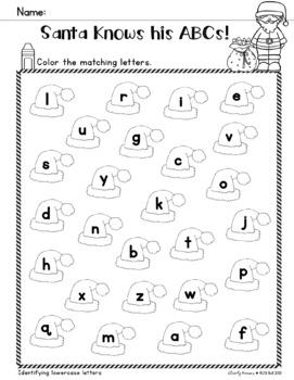 Santa, Santa, A B C - Alphabet Activity Freebie