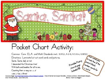 Santa, Santa Pocket Chart Poetry Set with Printable Poem to Color