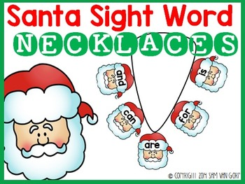 Santa Sight Word Necklaces
