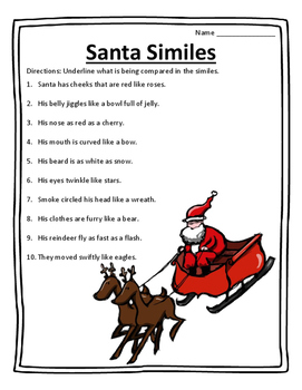Santa Similes Twas The Night Before Christmas Poem Activities
