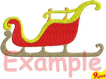 Santa Sleigh Embroidery Design 4x4 5x7 hoop Christmas Sleigh Claus xmas 122b