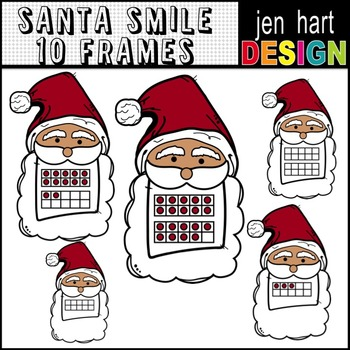 Santa Smile Double 10 Frames 0-20 Christmas Math Clipart