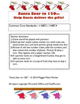 Santa Soar to 120! - Christmas Math Game