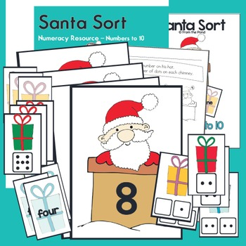 Santa Sort - Printable Game - Math Center - Numbers to 10