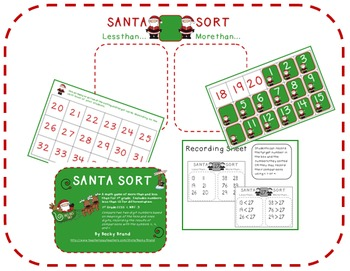 Santa Sort (comparing one and two digit numbers math Common Core)