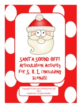 Santa Sound Off!  Articulation Activity for s, r, l (inclu