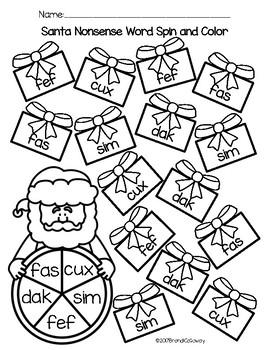 Santa Spin and Color-NONSENSE WORD EDITION