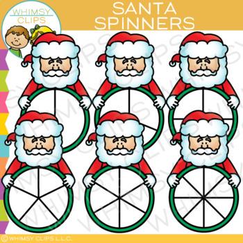 Santa Spinners for Christmas Clip Art
