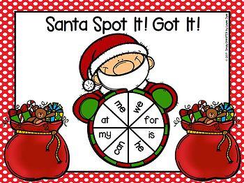 Santa Spot It!  Got It!  LOW PREP Christmas Themed Sight Word Fluency Game