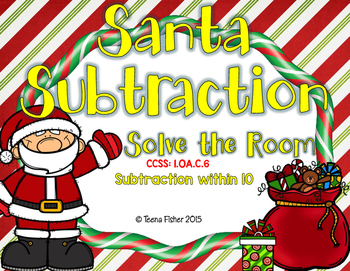 Santa Subtraction Within 10 Write the Room Christmas  First Grade