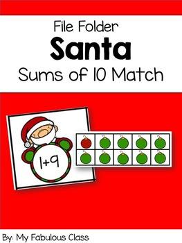 Santa Sums of 10 File Folder